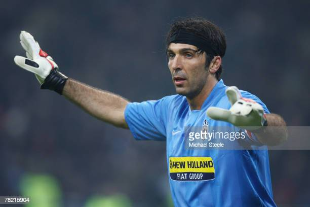 Gianluigi Buffon of Juventus during the Serie A match between AC Milan and Juventus at the San Siro stadium on December 1 2007 in MilanItaly