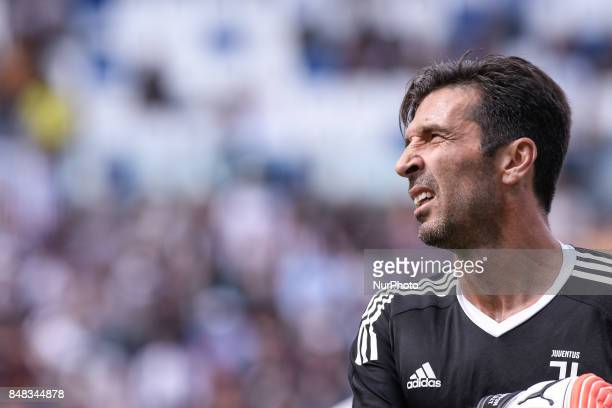 Gianluigi Buffon of Juventus during the Serie A match between Sassuolo and Juventus at Mapei Stadium Reggio Emilia Italy on 17 September 2017