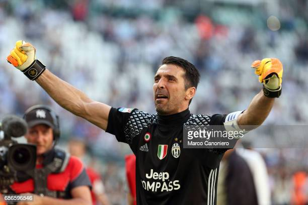 Gianluigi Buffon of Juventus FC celebrate the victory of Italian Serie A after the match between Juventus Fc and Fc Crotone