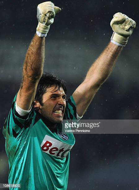 Gianluigi Buffon of Juventus FC celebrates after his team mate Claudio Marchisio scored a goal during the Serie A match between Juventus FC and...