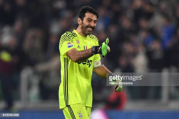 Gianluigi Buffon of Juventus FC celebrates after his teammate Gonzalo Higuain scored a goal during the Serie A match between Juventus FC and US Citta...