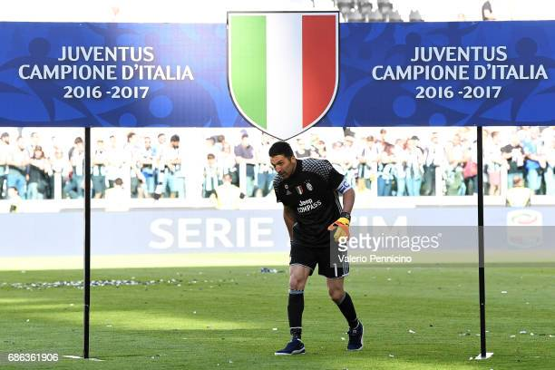 Gianluigi Buffon of Juventus FC celebrates after the beating FC Crotone 30 to win the Serie A Championships at the end of the Serie A match between...