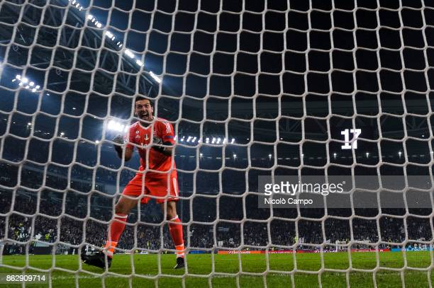 Gianluigi Buffon of Juventus FC celebrates after the winning goal of his team during the UEFA Champions League football match between Juventus FC and...