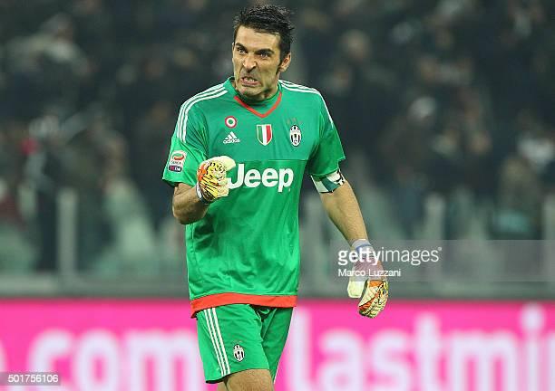 Gianluigi Buffon of Juventus FC celebrates his teammates goal during the Serie A match betweeen Juventus FC and ACF Fiorentina at Juventus Arena on...
