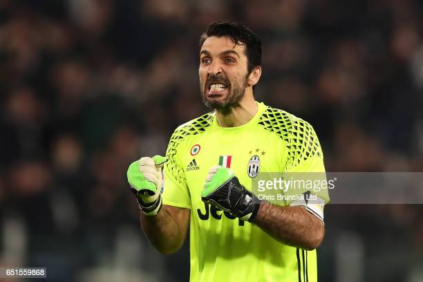 Gianluigi Buffon of Juventus FC celebrates his team's first goal during the Serie A match between Juventus FC and AC Milan at Juventus Stadium on...