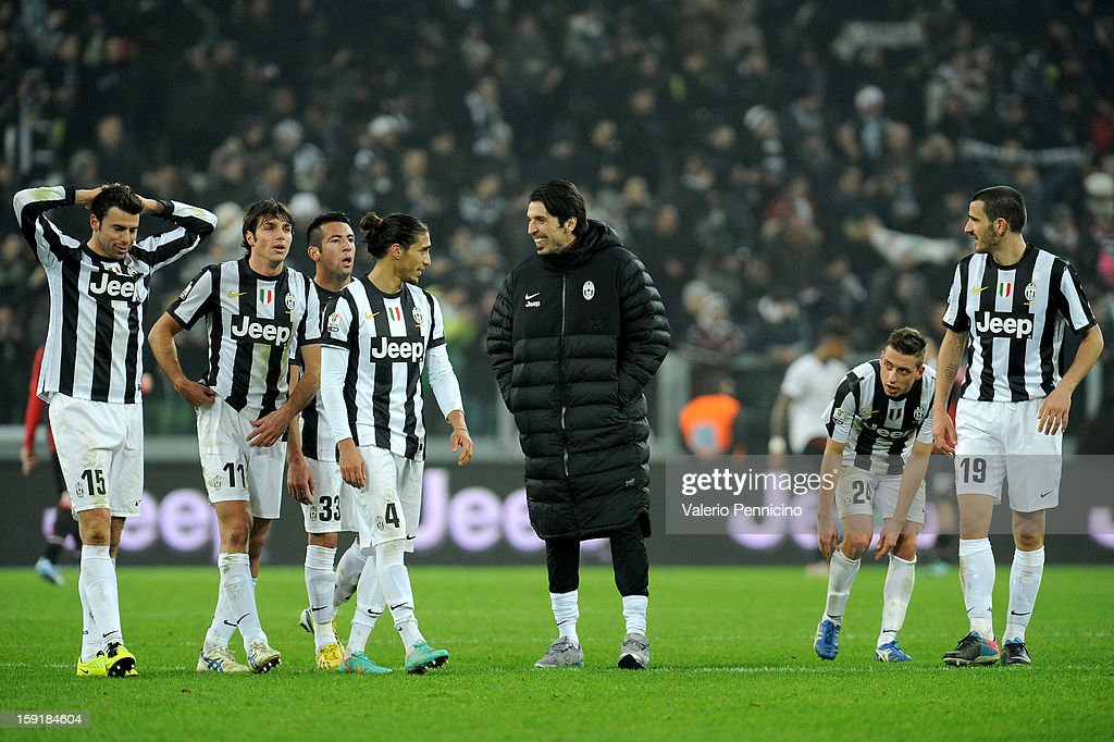 Gianluigi Buffon (C) of Juventus FC celebrates victory at the end of the TIM cup match between Juventus FC and AC Milan at Juventus Arena on January 9, 2013 in Turin, Italy.
