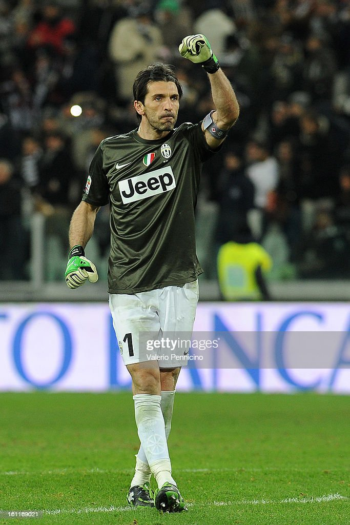 Gianluigi Buffon of Juventus FC celebrates victory at the end of the Serie A match between Juventus FC and ACF Fiorentina at Juventus Arena on February 9, 2013 in Turin, Italy.