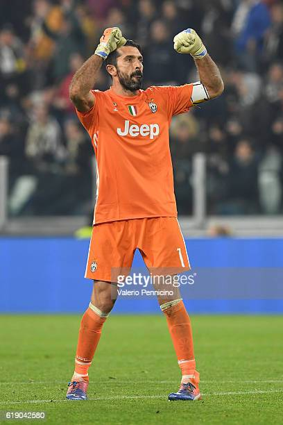 Gianluigi Buffon of Juventus FC celebrates victory at the end of the Serie A match between Juventus FC and SSC Napoli at Juventus Stadium on October...