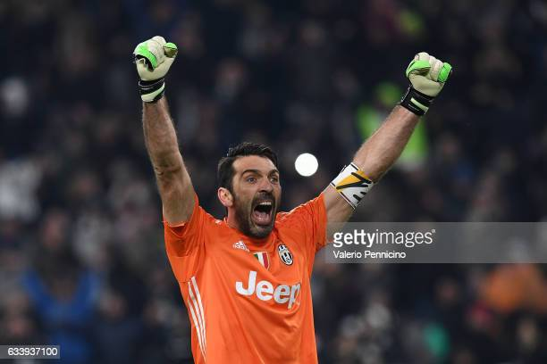 Gianluigi Buffon of Juventus FC celebrates victory at the end of the Serie A match between Juventus FC and FC Internazionale at Juventus Stadium on...