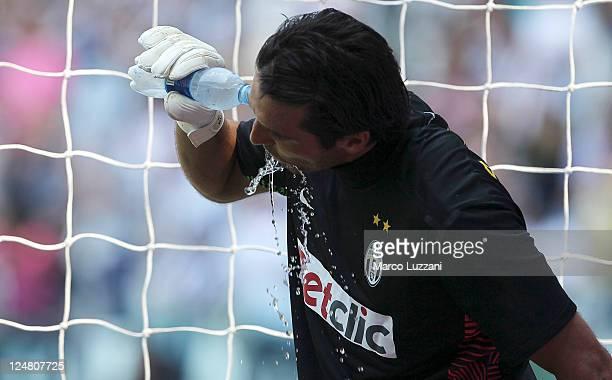 Gianluigi Buffon of Juventus FC drinks during the Serie A match between Juventus FC and Parma FC at the Juventus Stadium on September 11 2011 in...