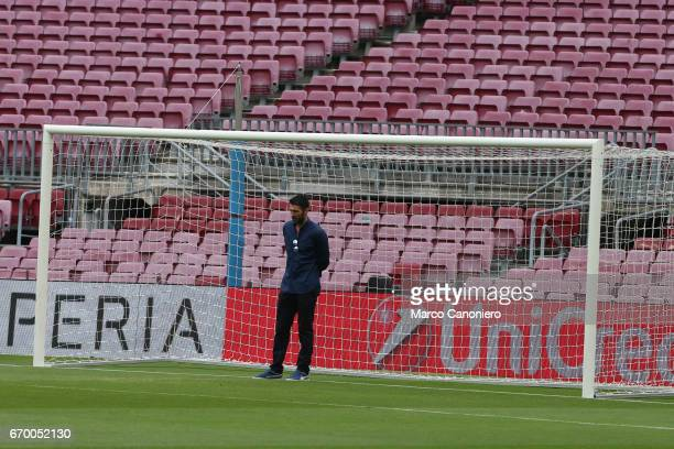 Gianluigi Buffon of Juventus FC during the Juventus FC walkaround at the Camp Nou on the eve of the UEFA Champions League football match between Fc...