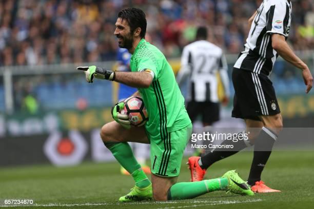 Gianluigi Buffon of Juventus Fc during the Serie A football match between UC Sampdoria and Juventus FC Juventus FC wins 10 over UC Sampdoria