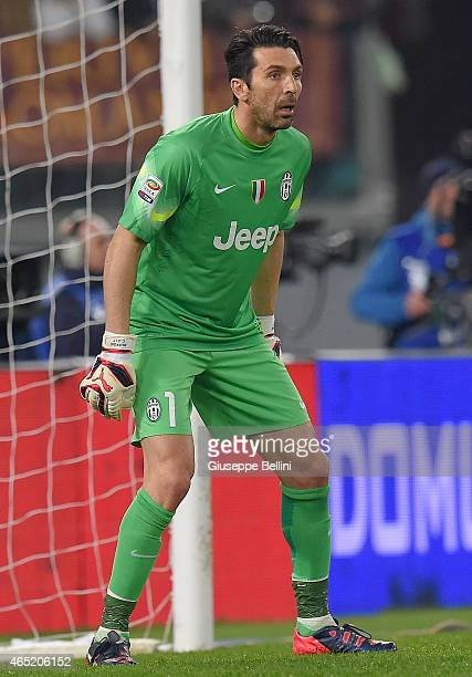 Gianluigi Buffon of Juventus FC during the Serie A match between AS Roma and Juventus FC at Stadio Olimpico on March 2 2015 in Rome Italy