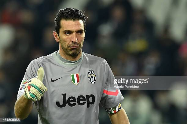 Gianluigi Buffon of Juventus FC during the Serie A match between Juventus FC and Hellas Verona FC at Juventus Arena on January 18 2015 in Turin Italy