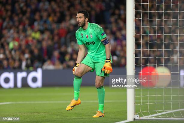 Gianluigi Buffon of Juventus FC during the UEFA Champions League quarter final second leg match between Fc Barcelona and Juventus FC The score was 00...