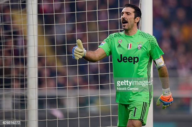 Gianluigi Buffon of Juventus FC gestures during the Serie A football match between Torino FC and Juventus FC Juventus FC won 31 over Torino FC