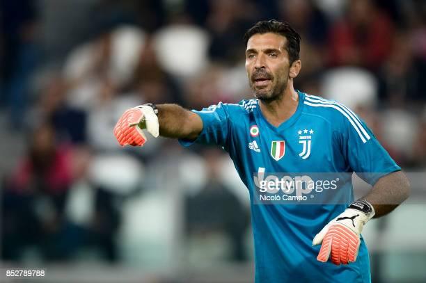 Gianluigi Buffon of Juventus FC gestures during the Serie A football match between Juventus FC and Torino FC Juventus FC wins 40 over Torino FC