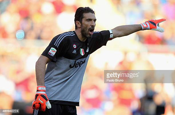 Gianluigi Buffon of Juventus FC gestures during the Serie A match between AS Roma and Juventus FC at Stadio Olimpico on August 30 2015 in Rome Italy