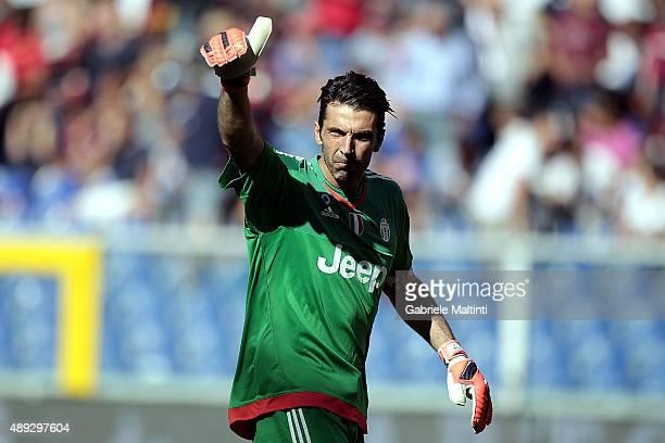 Gianluigi Buffon of Juventus FC gestures during the Serie A match between Genoa CFC and Juventus FC at Stadio Luigi Ferraris on September 20 2015 in...