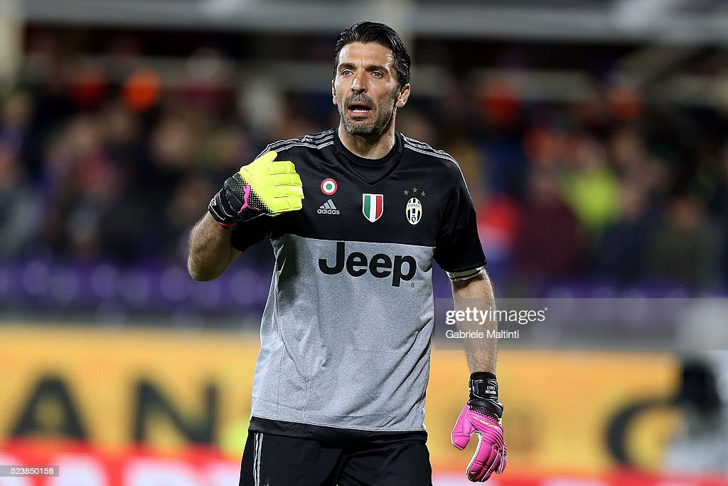 Gianluigi Buffon of Juventus FC gestures during the Serie A match between ACF Fiorentina and Juventus FC at Stadio Artemio Franchi on April 24, 2016 in Florence, Italy.