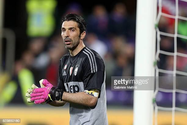 Gianluigi Buffon of Juventus FC gestures during the Serie A match between ACF Fiorentina and Juventus FC at Stadio Artemio Franchi on April 24 2016...
