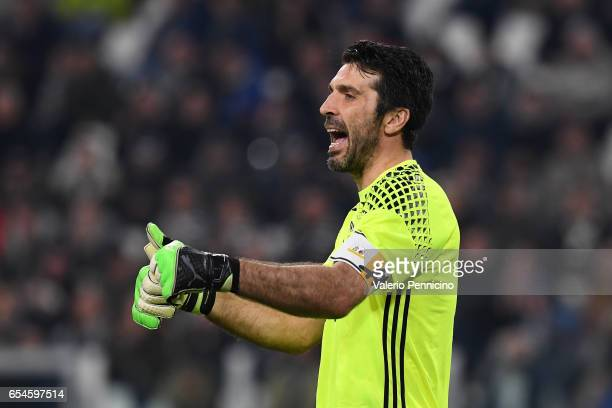 Gianluigi Buffon of Juventus FC gestures during the Serie A match between Juventus FC and AC Milan at Juventus Stadium on March 10 2017 in Turin Italy