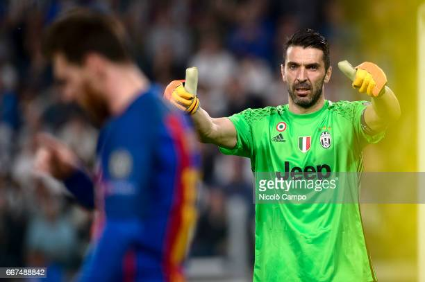 Gianluigi Buffon of Juventus FC gestures during the UEFA Champions League football match between Juventus FC and FC Barcelona Juventus FC wins 30...
