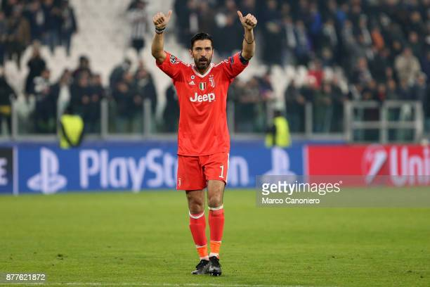 Gianluigi Buffon of Juventus FC greet the fans at the end the UEFA Champions League group D match between Juventus FC and Fc Barcelona The match...