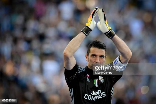 Gianluigi Buffon of Juventus FC greets the supporters at the end of the Serie A football match between Juventus FC and FC Crotone Juventus FC wins 30...