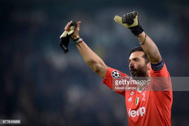 Gianluigi Buffon of Juventus FC greets the supporters at the end of the UEFA Champions League football match between Juventus FC and FC Barcelona The...