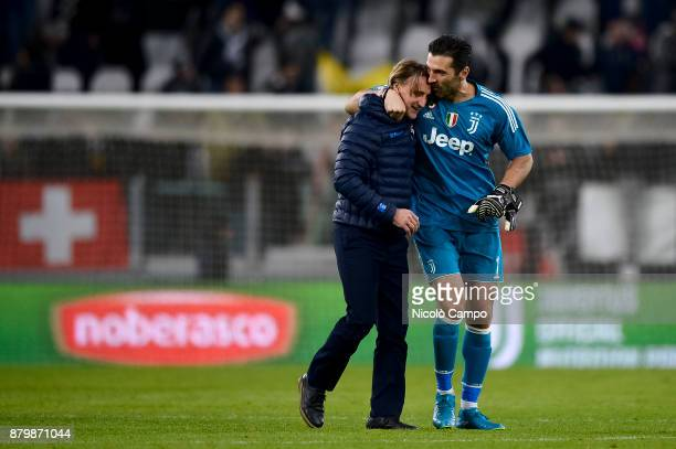 Gianluigi Buffon of Juventus FC hugs Davide Nicola of FC Crotone at the end of the Serie A football match between Juventus FC and FC Crotone Juventus...