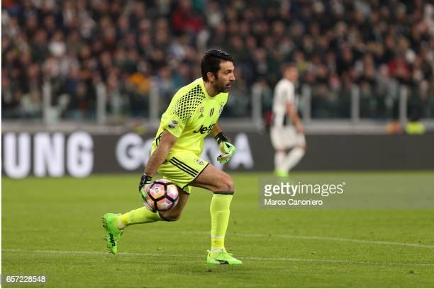 Gianluigi Buffon of Juventus FC in action during the Serie A football match between Juventus FC and Ac Milan at Juventus Stadium Juventus FC wins 21...