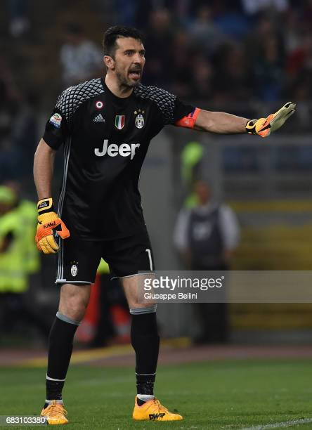 Gianluigi Buffon of Juventus FC in action during the Serie A match between AS Roma and Juventus FC at Stadio Olimpico on May 14 2017 in Rome Italy