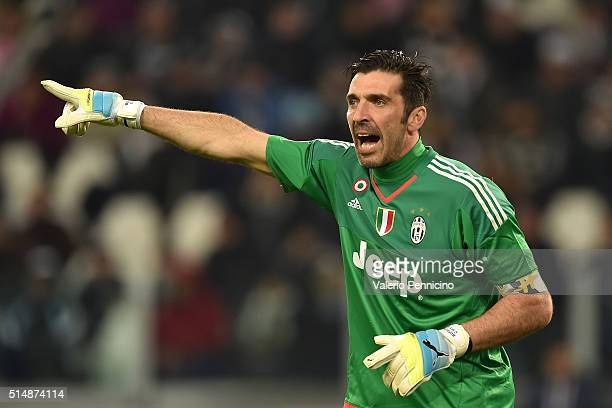 Gianluigi Buffon of Juventus FC issues instructions during the Serie A match between Juventus FC and US Sassuolo Calcio at Juventus Arena on March 11...