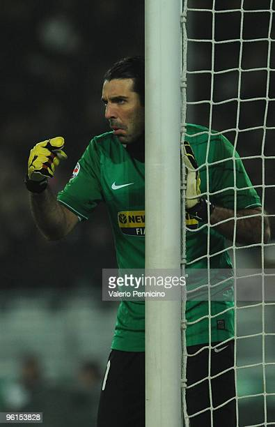 Gianluigi Buffon of Juventus FC issues instructions during the Serie A match between Juventus FC and AS Roma at Olimpico Stadium on January 23 2010...