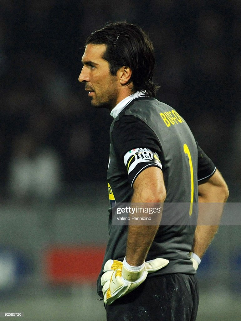 Gianluigi Buffon of Juventus FC looks dejected during the Serie A match between Juventus FC and SSC Napoli at Olimpico Stadium on October 31 2009 in...