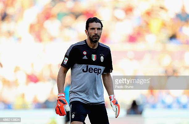 Gianluigi Buffon of Juventus FC looks on during the Serie A match between AS Roma and Juventus FC at Stadio Olimpico on August 30 2015 in Rome Italy