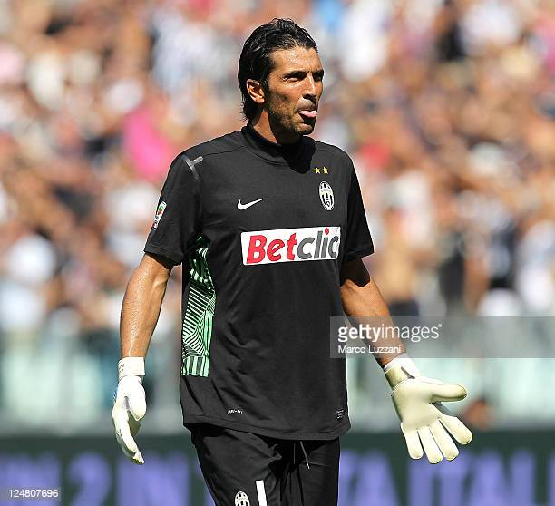 Gianluigi Buffon of Juventus FC looks on during the Serie A match between Juventus FC and Parma FC at the Juventus Stadium on September 11 2011 in...