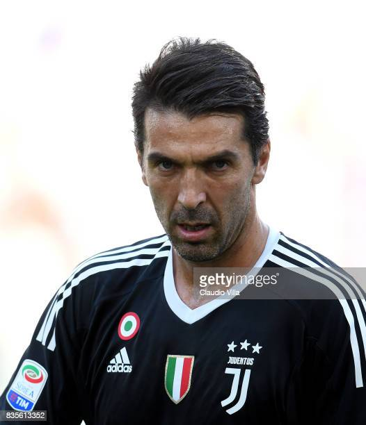 Gianluigi Buffon of Juventus FC looks on prior to the Serie A match between Juventus and Cagliari Calcio at Allianz Stadium on August 19 2017 in...