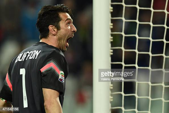 Gianluigi Buffon of Juventus FC reacts after saved the penalty during the Serie A match between Juventus FC and ACF Fiorentina at Juventus Arena on...
