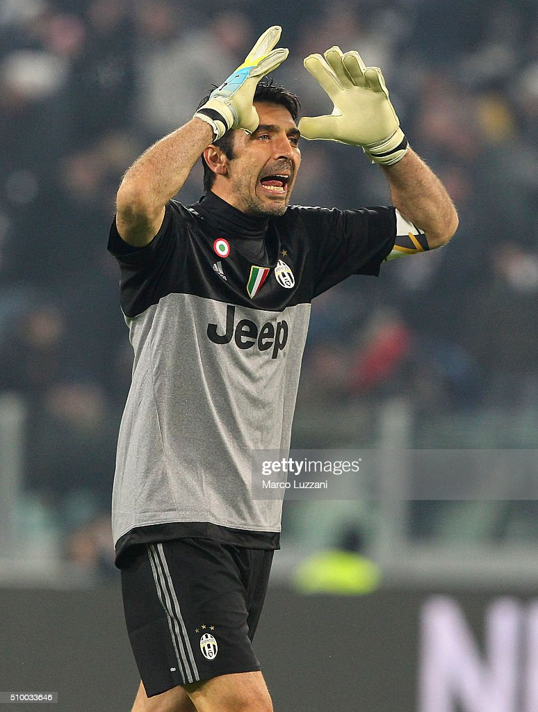 <a gi-track='captionPersonalityLinkClicked' href=/galleries/search?phrase=Gianluigi+Buffon&family=editorial&specificpeople=208860 ng-click='$event.stopPropagation()'>Gianluigi Buffon</a> of Juventus FC reacts during the Serie A match between and Juventus FC and SSC Napoli at Juventus Arena on February 13, 2016 in Turin, Italy.