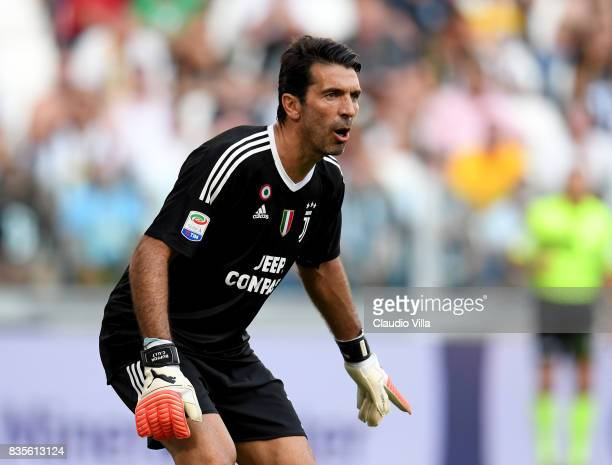 Gianluigi Buffon of Juventus FC reacts during the Serie A match between Juventus and Cagliari Calcio at Allianz Stadium on August 19 2017 in Turin...