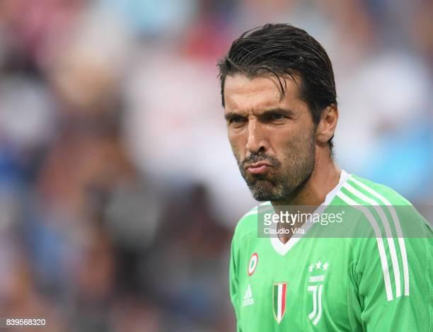 Gianluigi Buffon of Juventus FC reacts during the Serie A match between Genoa CFC and Juventus at Stadio Luigi Ferraris on August 26 2017 in Genoa...