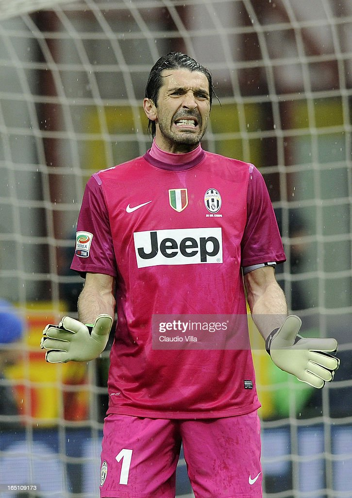 <a gi-track='captionPersonalityLinkClicked' href=/galleries/search?phrase=Gianluigi+Buffon&family=editorial&specificpeople=208860 ng-click='$event.stopPropagation()'>Gianluigi Buffon</a> of Juventus FC reacts during the Serie A match between FC Internazionale Milano and Juventus FC at San Siro Stadium on March 30, 2013 in Milan, Italy.