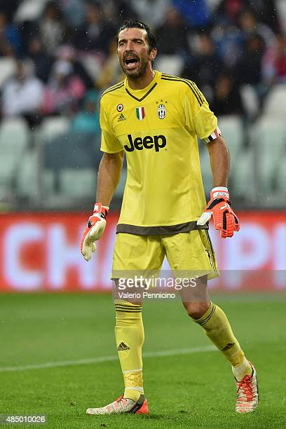 Gianluigi Buffon of Juventus FC reacts during the Serie A match between Juventus FC and Udinese Calcio at Juventus Arena on August 23 2015 in Turin...