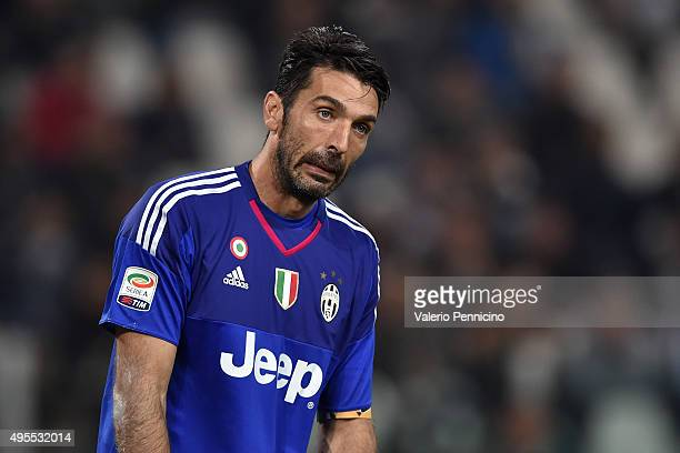 Gianluigi Buffon of Juventus FC reacts during the Serie A match between Juventus FC and Torino FC at Juventus Arena on October 31 2015 in Turin Italy