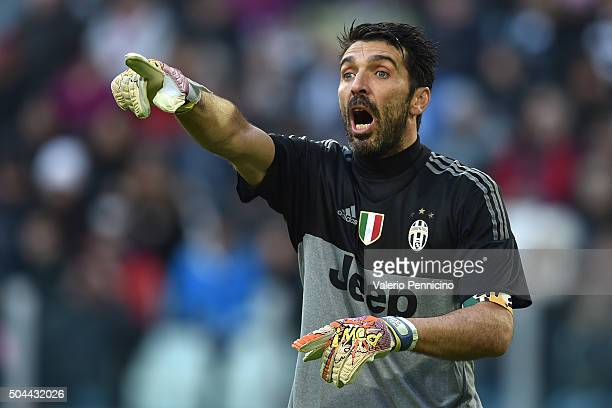 Gianluigi Buffon of Juventus FC reacts during the Serie A match between Juventus FC and Hellas Verona FC at Juventus Arena on January 6 2016 in Turin...