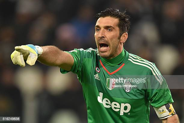 Gianluigi Buffon of Juventus FC reacts during the Serie A match between Juventus FC and US Sassuolo Calcio at Juventus Arena on March 11 2016 in...