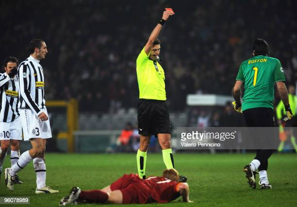 Gianluigi Buffon of Juventus FC receives the red card from referee Paolo Tagliavento during the Serie A match between Juventus FC and AS Roma at...
