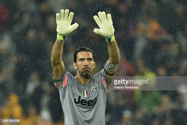 Gianluigi Buffon of Juventus FC salutes the fans after the Serie A match between Juventus FC and Parma FC at Juventus Arena on November 9 2014 in...